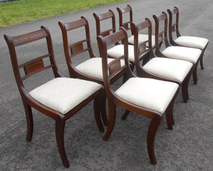 Regency Style Chairs ~ Set of eight mahogany regency style dining chairs